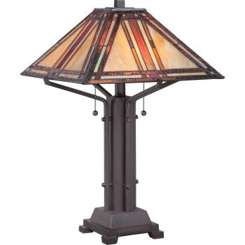 "Quoizel Tiffany 2-Light 12"" Table Lamp in Western Bronze"