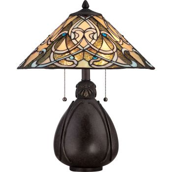 Quoizel Tiffany Peacock 2-Light Table Lamp in Imperial Bronze