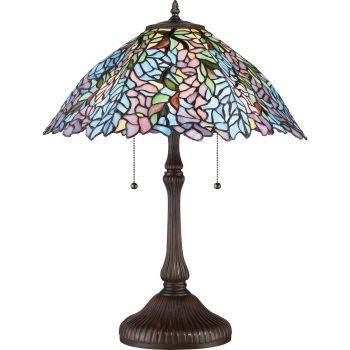 """Quoizel Tiffany 24"""" 2-Light Tiffany Glass Shade Table Lamp in Russet"""