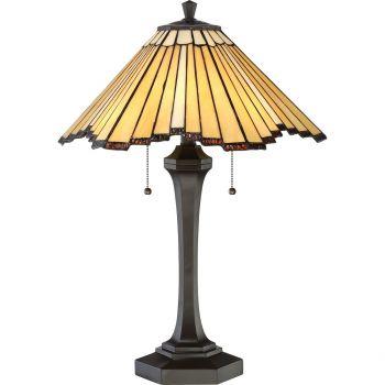 "Quoizel Tiffany 24.75"" 2-Light Tiffany Table Lamp in Western Bronze"