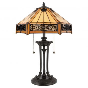 "Quoizel Indus Tiffany 23"" 2-Light Table Lamp in Bronze"