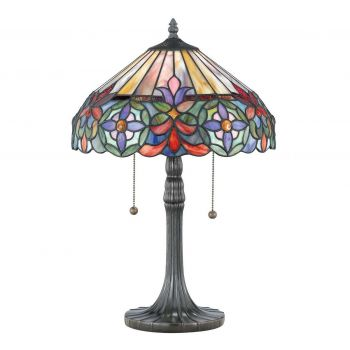 "Quoizel Connie Tiffany 22"" 2-Light Table Lamp in Bronze"