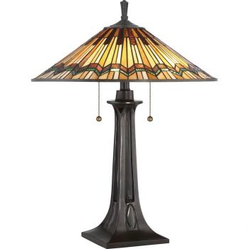 "Quoizel Alcott 25"" 2-Light Tiffany Glass Table Lamp in Valiant Bronze"