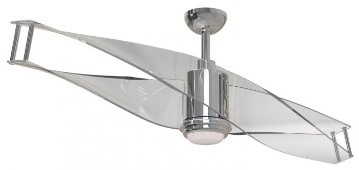 """Craftmade Illusion 56"""" Clear Ceiling Fan in Polished Nickel"""