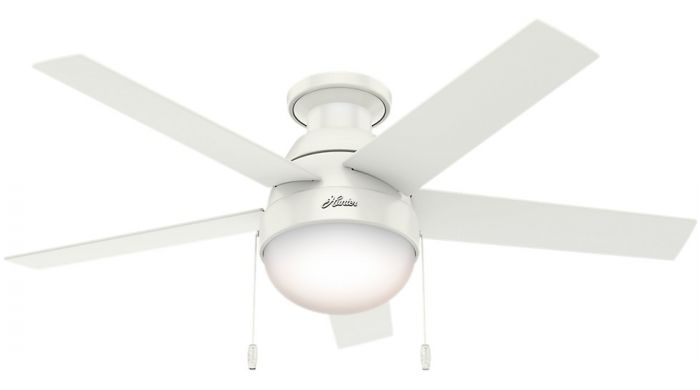 """Hunter Anslee 46"""" LED Low Profile Indoor Ceiling Fan in White"""
