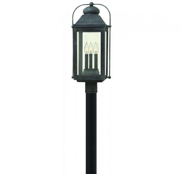 Hinkley Anchorage 3-Light Outdoor Post Light in Aged Zinc