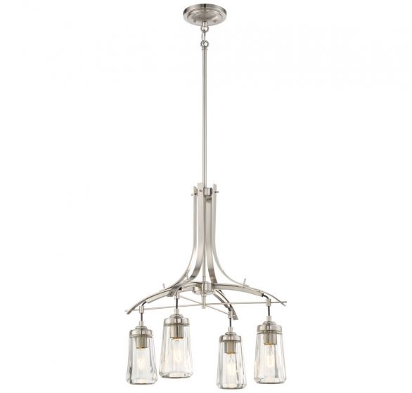 "Minka Lavery Poleis 4-Light 21"" Transitional Chandelier in Brushed Nickel"