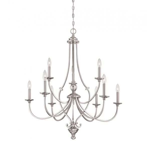 Minka Lavery Savannah Row 9-Light Chandelier in Brushed Nickel