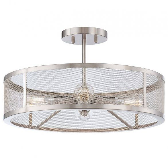 """Minka Lavery Downtown Edison 4-Light 19"""" Ceiling Light in Brushed Nickel"""