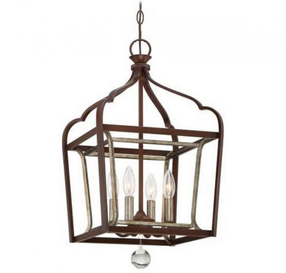 """Minka Lavery Astrapia 4-Light 13"""" Pendant Light in Dark Rubbed Sienna with Aged Silver"""