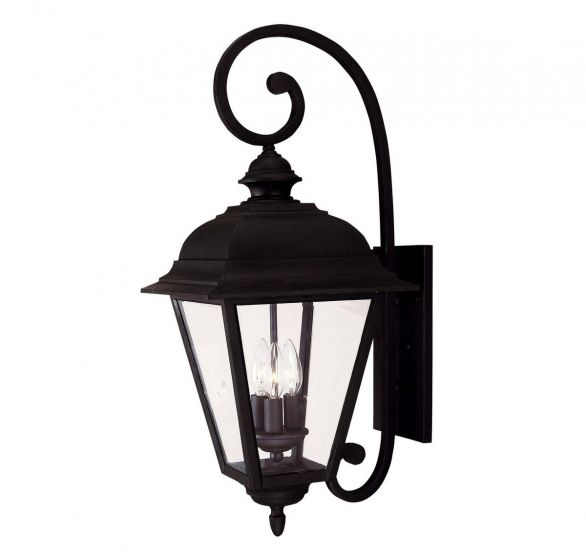 "Savoy House Wakefield 24"" 3-Light Outdoor Wall Lantern in Textured Black"