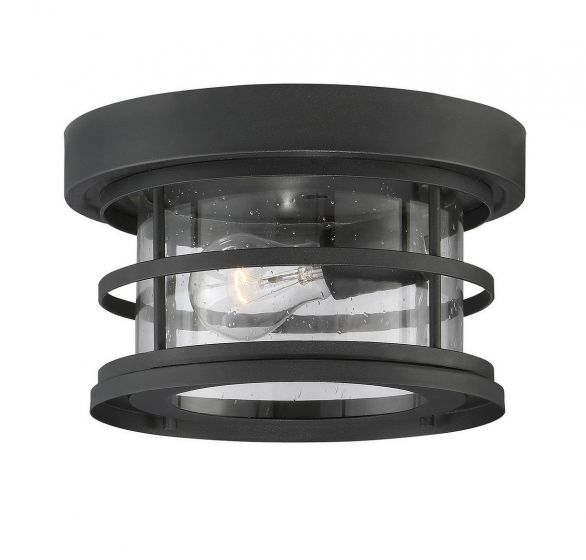 "Savoy House Barrett 10"" Outdoor Ceiling Light in Black"