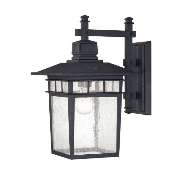 """Savoy House Linden 9"""" Outdoor Wall Lantern In Textured Black"""