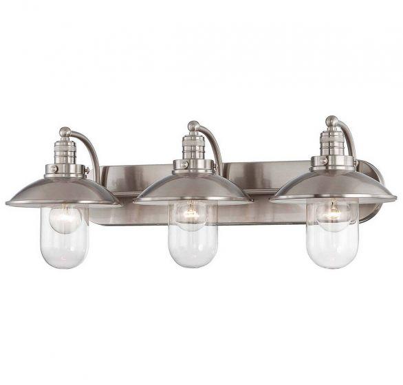 "Minka Lavery Downtown Edison 3-Light 29"" Bathroom Vanity Light in Brushed Nickel"