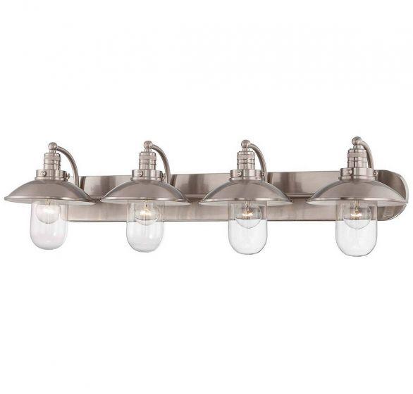 "Minka Lavery Downtown Edison 4-Light 39"" Bathroom Vanity Light in Brushed Nickel"