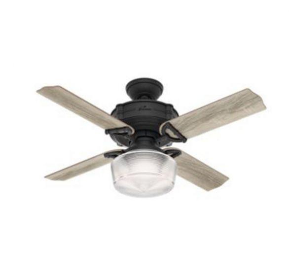 """Hunter Brunswick 44"""" LED Ceiling Fan in Black"""