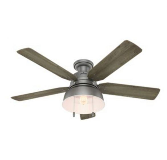 """Hunter Mill Valley 52"""" LED Ceiling Fan in Brushed Nickel/Chrome"""