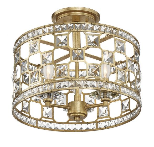 Savoy House Clarion 3-Light Crystal Semi-Flush in Gold Bullion