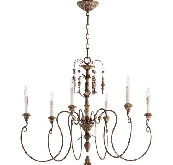 "Quorum Salento 32"" 6-Light Chandelier in Vintage Copper"