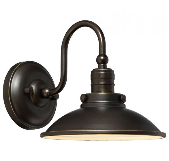 """The Great Outdoors Baytree Lane 9"""" Outdoor Wall Light in Oil Rubbed Bronze with Gold High"""