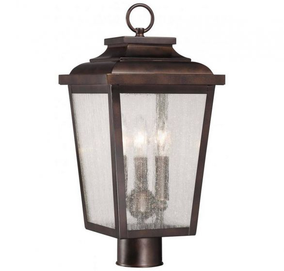 "The Great Outdoors Irvington Manor 3-Light 18"" Outdoor Post Light in Chelesa Bronze"