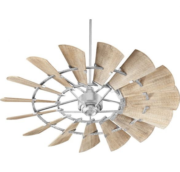 "Quorum Windmill 60"" 15-Blade Indoor Ceiling Fan in Galvanized"