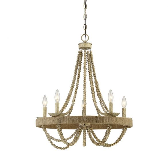 Trade Winds Lighting Rustic 5-Light Chandelier in Natural Wood with Rope