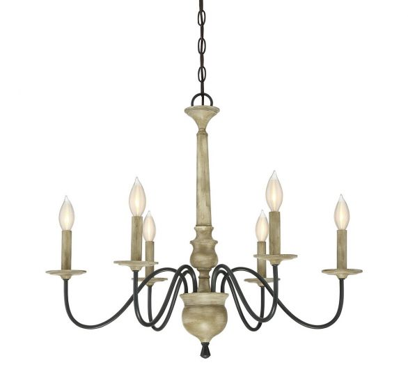 Trade Winds Rustic 6-Light Chandelier in Distressed Wood