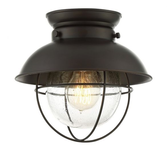 Trade Winds Lighting Nautical Flush Ceiling Light in Oil Rubbed Bronze