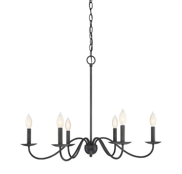 """Trade Winds Transitional 6-Light 22"""" Transitional Chandelier in Aged Iron"""
