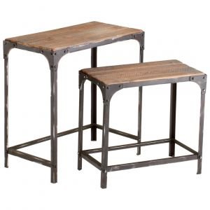 Cyan Design Winslow Nesting Tables in Raw Iron/Natural Wood (Set of 2)