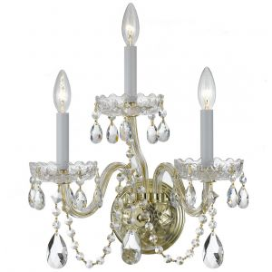 """Crystorama Trad Crystal 15"""" 3-Light Spectra Wall Sconce in Polished Brass"""