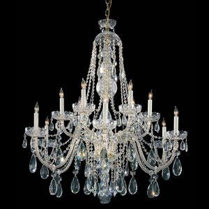 "Crystorama Trad Crystal 42"" 12-Light Spectra Chandelier in Polished Brass"