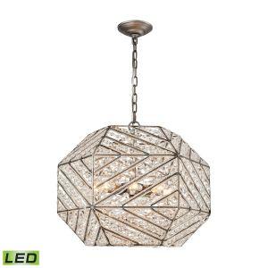 "Elk Lighting Constructs 20"" 8-Light LED Chandelier in Weathered Zinc"