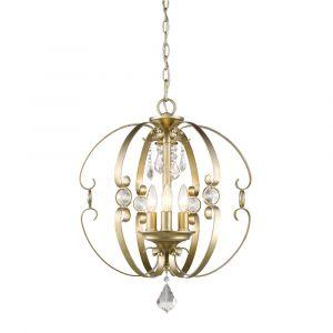 Golden Lighting Ella 3-Light Pendant in White Gold