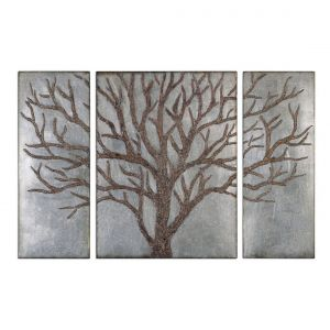 """Uttermost Winter View 60"""" Wall Panels in Antique Silver Leaf (Set of 3)"""