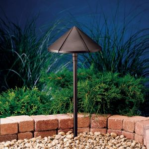 "Kichler Six Groove 24.65"" Path & Spread in Textured Architectural Bronze"