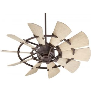 "Quorum International Windmill 44"" Damp Fan in Oiled Bronze"