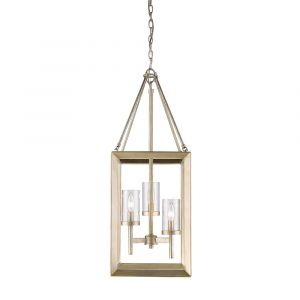 Golden Lighting Smyth 3-Light Pendant in White Gold with Clear Glass