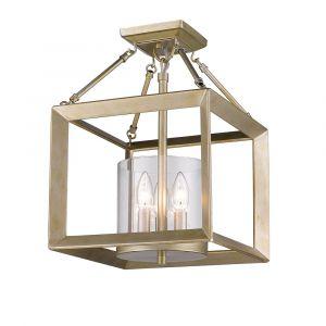 Golden Lighting Smyth Converible Semi-Flush in White Gold w/ Clear Glass