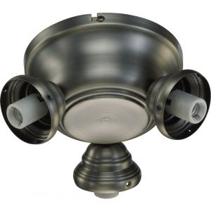 "Quorum Salon 8"" 3-Light Ceiling Fan Light Kit in Antique Silver"