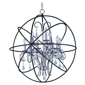 Maxim Lighting Orbit 9-Light Pendant in Anthracite and Polished Nickel