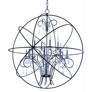 "Maxim Orbit 40"" 12-Light Pendant in Anthracite and Polished Nickel"