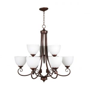 Craftmade Raleigh 9-Light White Frosted Chandelier in Old Bronze