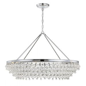 """Crystorama Calypso 8-Light 26"""" Transitional Chandelier in Polished Chrome with Clear Glass Drops Crystals"""