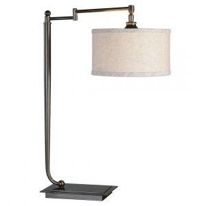 "Uttermost Lamine 25.75"" Desk Lamp in Plated Dark Bronze"