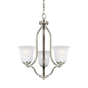 "Sea Gull Emmons 19.5"" 3-Light Satin Etched Chandelier in Brushed Nickel"