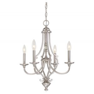 "Minka Lavery Savannah Row 4-Light 20"" Traditional Chandelier in Brushed Nickel"