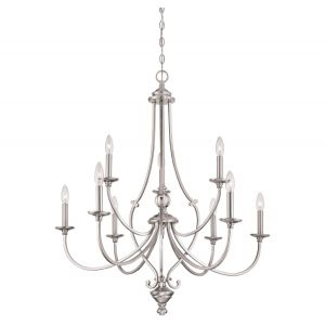 "Minka Lavery Savannah Row 9-Light 34"" Traditional Chandelier in Brushed Nickel"