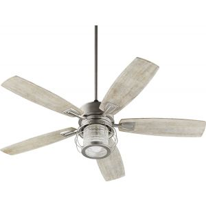 "Quorum International Galveston 52"" Indoor Ceiling Fan in Satin Nickel"